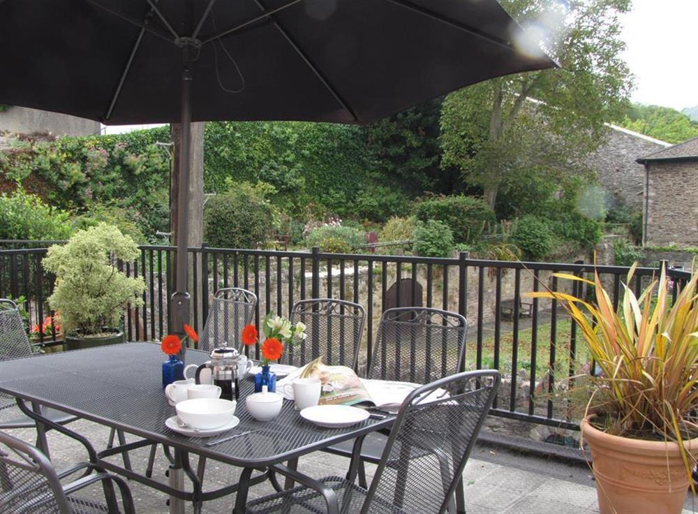 The wonderful terrace - perfect for al fresco dining at Slipway House, Dartmouth