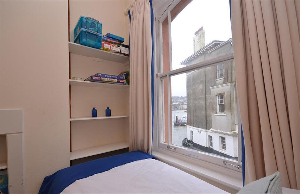 Views enjoyed from one of the twin beds at Slipway House, Dartmouth
