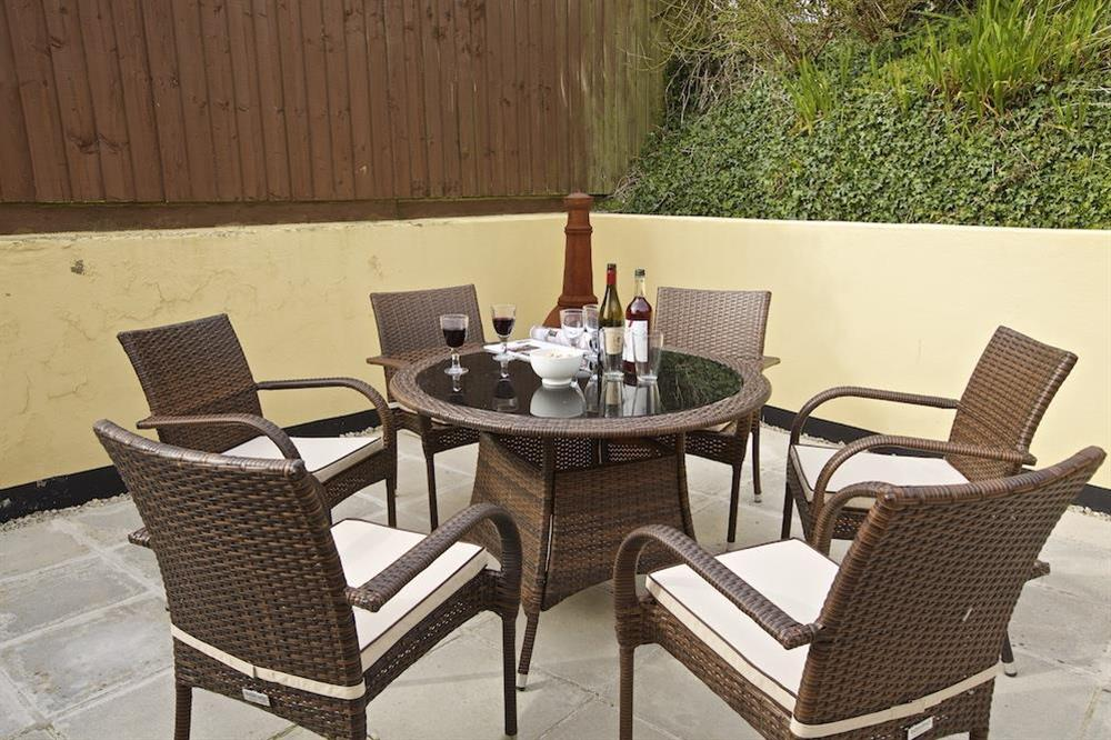 Good sized private terrace to the rear of the property with table, benches and barbecue (photo 4) at Southview in Blackawton, Nr Dartmouth