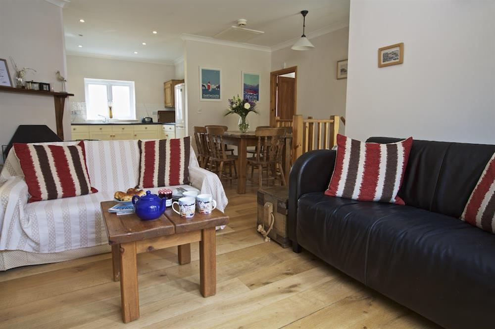 Lounge/dining room with wood-burning stove at Southview in Blackawton, Nr Dartmouth