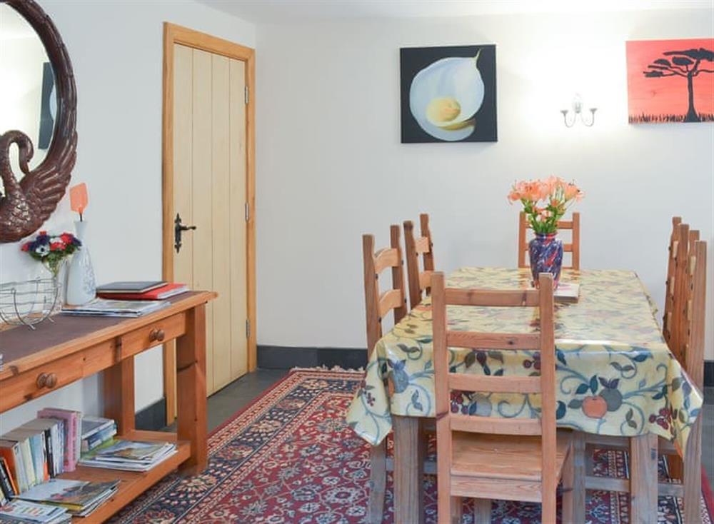 Delightful raised dining area at Stable Barn in Hendham, near Kingsbridge, Devon