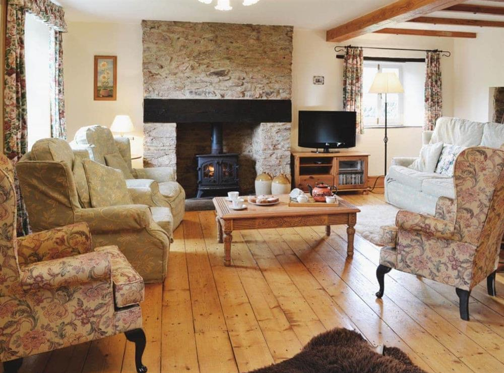 Living room at Stonehills Farmhouse in Washbourne, Nr Totnes, South Devon., Great Britain
