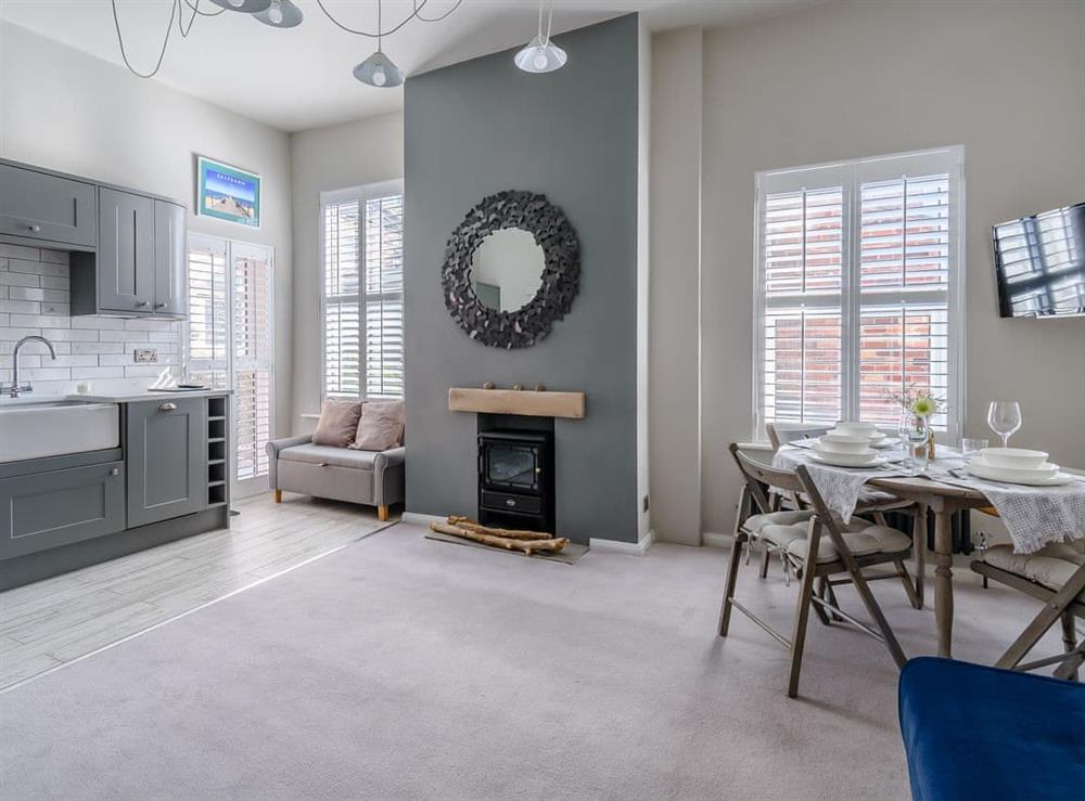 Open plan living space at Studio 5 Groveside in Saltburn-by-the-Sea, Cleveland