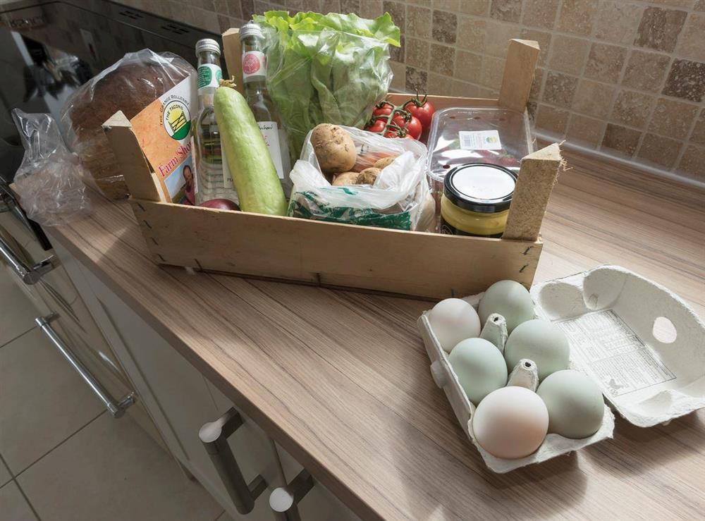 Fresh welcome basket at Summer House Stables in Catfield, near Stalham, Norfolk