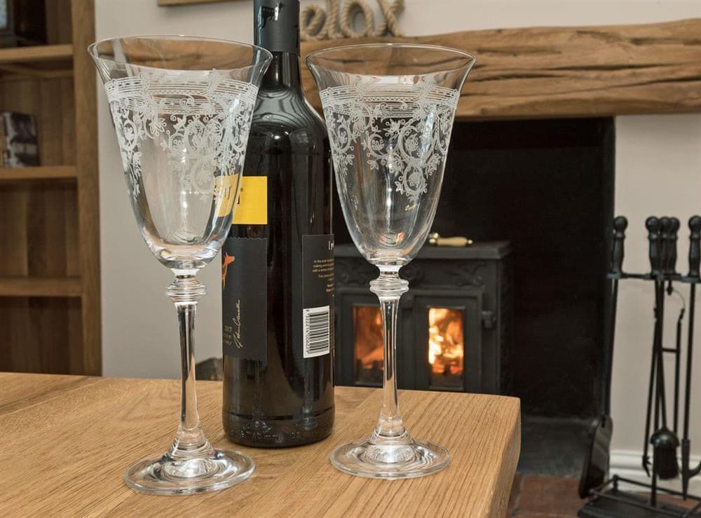 Cosy wood burner in living room at Sunnyside in Ludham, near Wroxham, Norfolk