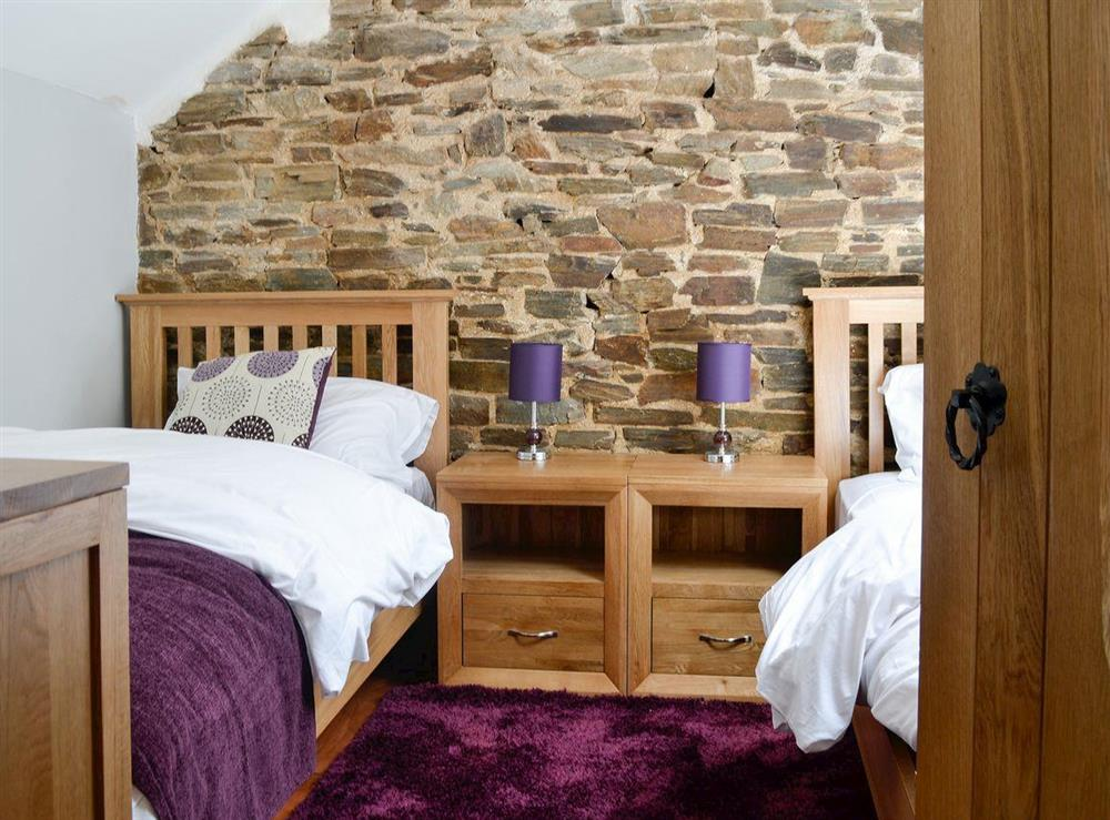 Twin bedroom at Tamar Barn in Gulworthy, near Tavistock, Devon