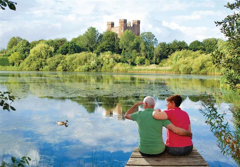 Views towards Tattershall Castle at Tattershall Lakes Country Park in Tattershall, Lincolnshire