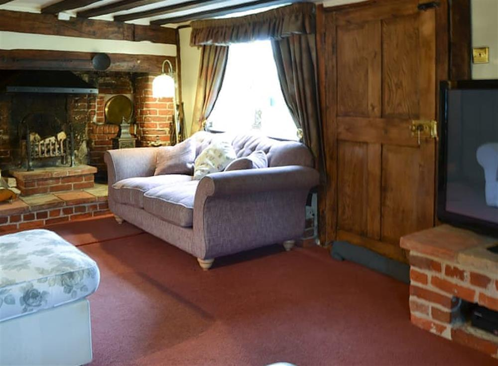 Cosy and warm living room with open fireplace at Tattlepot Farmhouse in Pulham Market, near Diss, Norfolk