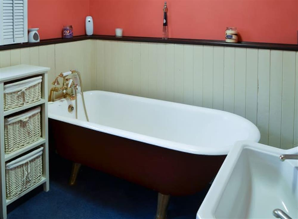 Half-panelled bathroom with telephone-style shower attachment at Tattlepot Farmhouse in Pulham Market, near Diss, Norfolk