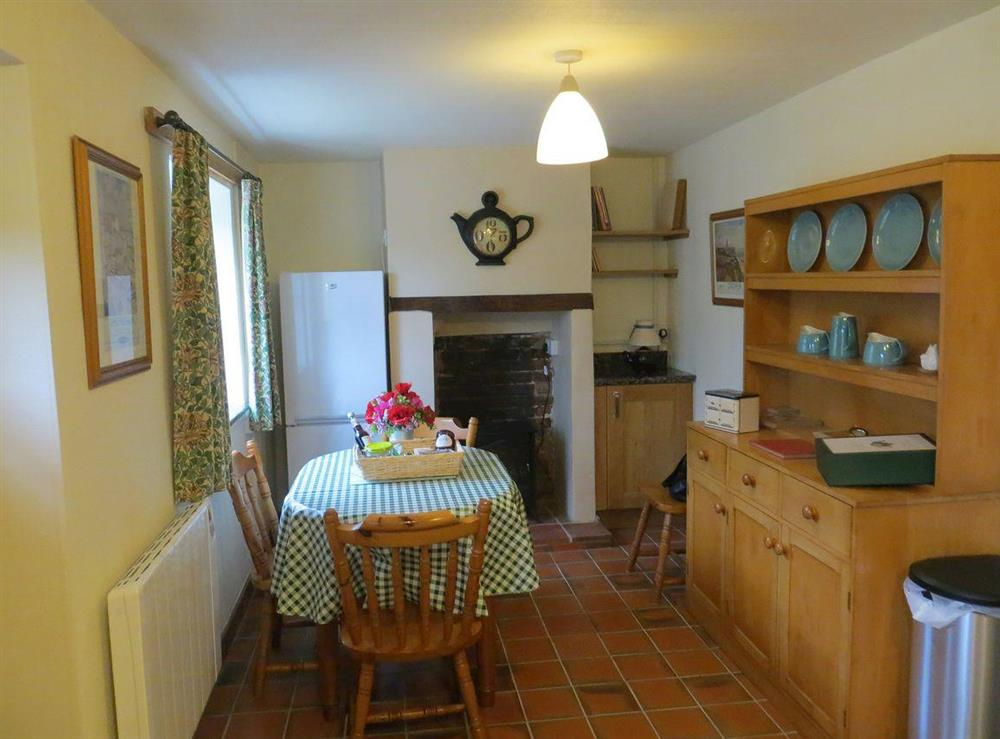 Dining area at Teapot Cottage in Helhoughton, near Fakenham, Norfolk, England