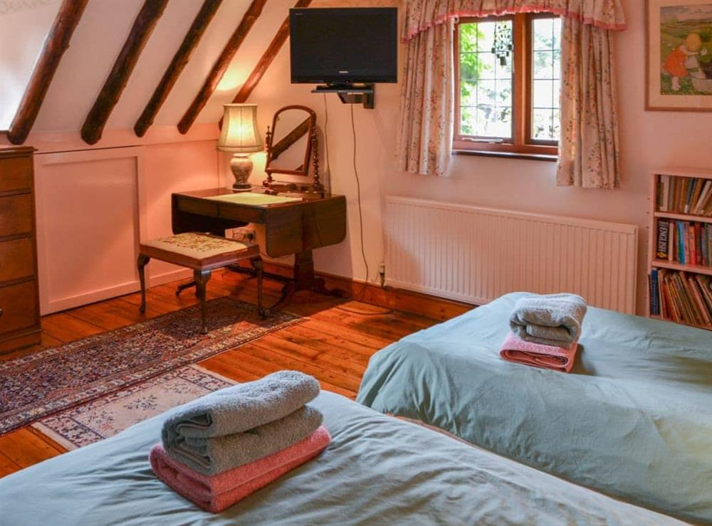 Twin bedroom at Thatched Cottage in Witton, near North Walsham, Norfolk