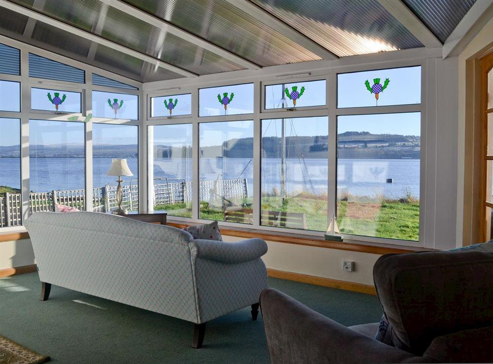 Living room with views at The Anchor and Chain in North Kessock, near Inverness, Inverness-Shire