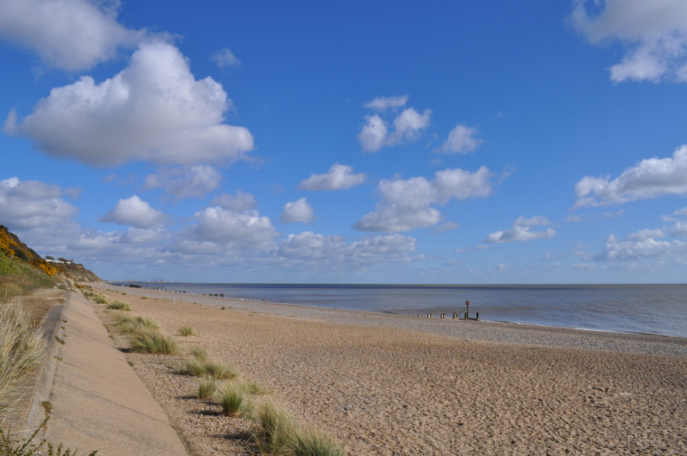 The beach, facing north at The Beech House in Corton near Lowestoft in Suffolk