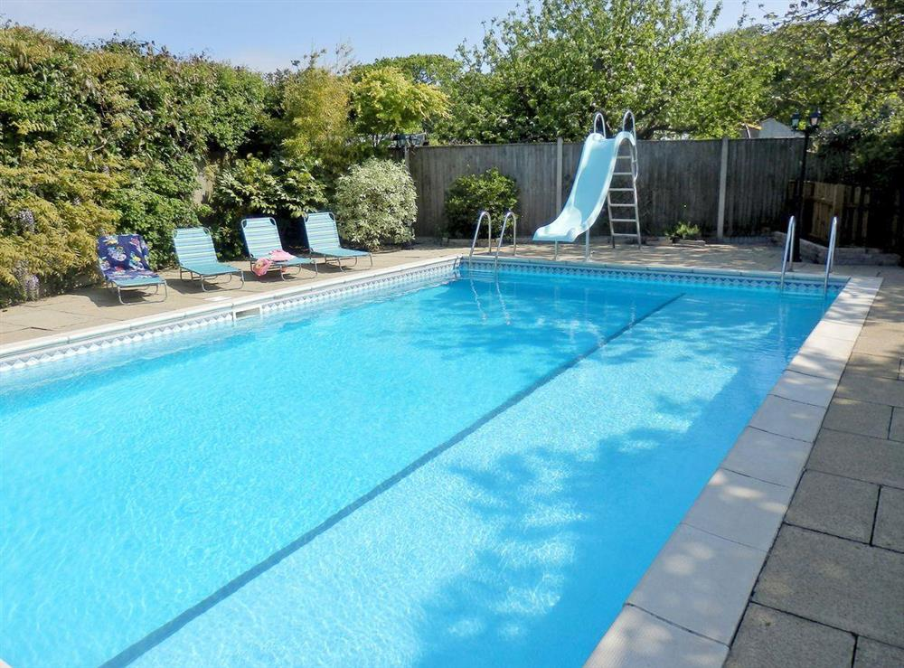 Luxurious private swimming pool at The Beech House in Corton, near Lowestoft, Suffolk