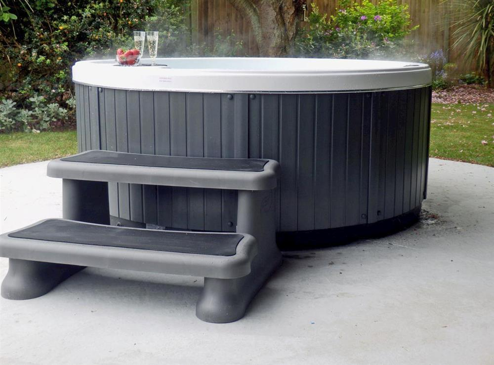 Relaxing hot tub at The Beech House in Corton, near Lowestoft, Suffolk