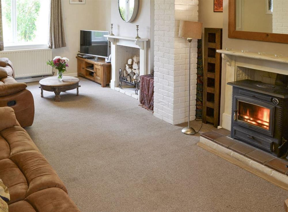 Welcoming living room with wood burner at The Boat House in Catfield, near Ludham, Norfolk