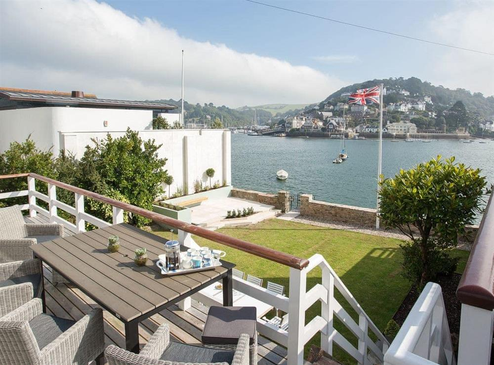Outdoor eating area at The Boat House in Dartmouth, South Devon., Great Britain