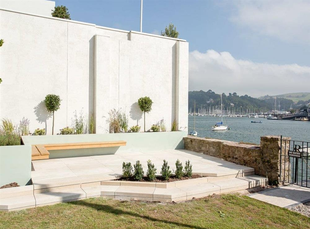 Sitting-out-area at The Boat House in Dartmouth, South Devon., Great Britain