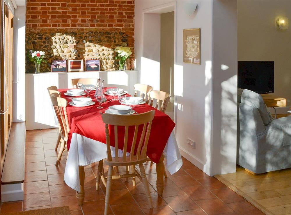 Delightful dining area at The Cattle Sheds in Knapton, near North Walsham, Norfolk