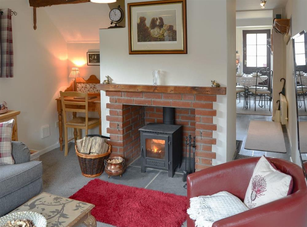 Charming living room with cosy wood burner at The Cottage in Norton Subcourse, near Loddon, Norfolk