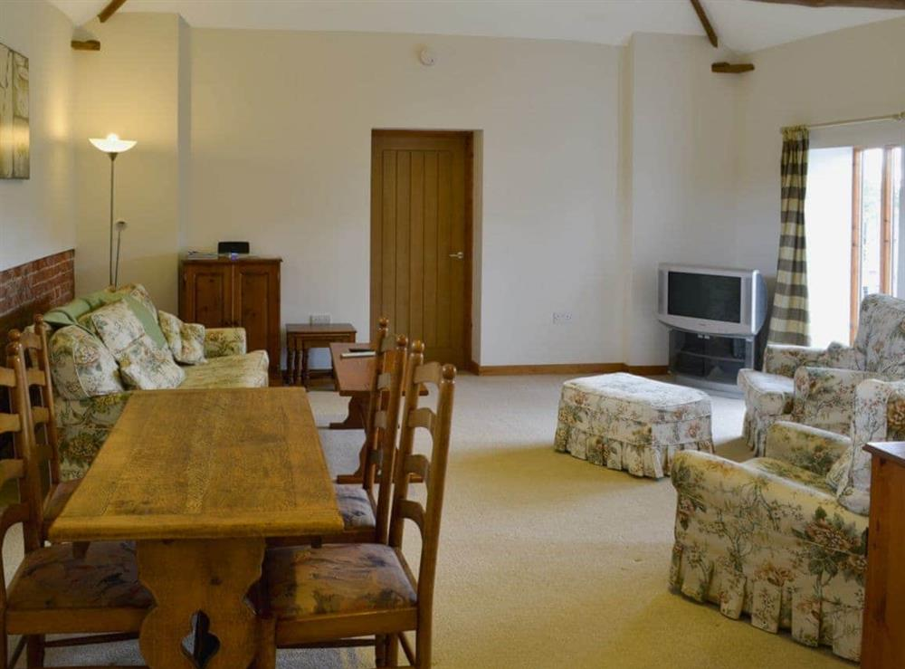 Open plan living/dining room/kitchen at The Cowshed in Blofield, near Norwich, Norfolk
