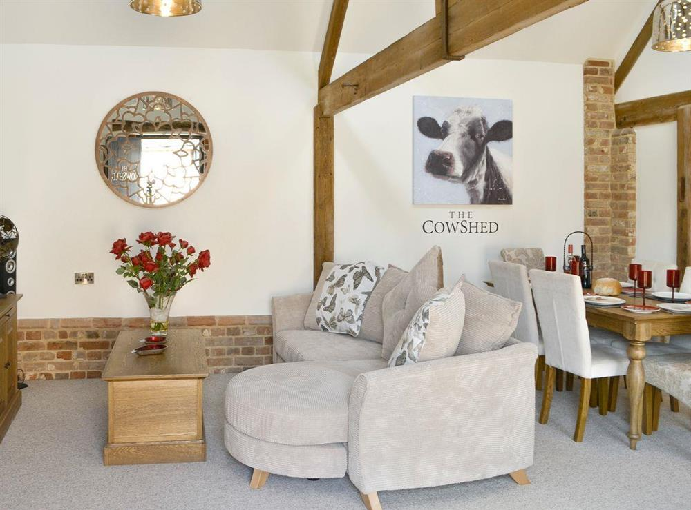 Appealing living and dining room at The Cowshed in Horning, near Wroxham, Norfolk