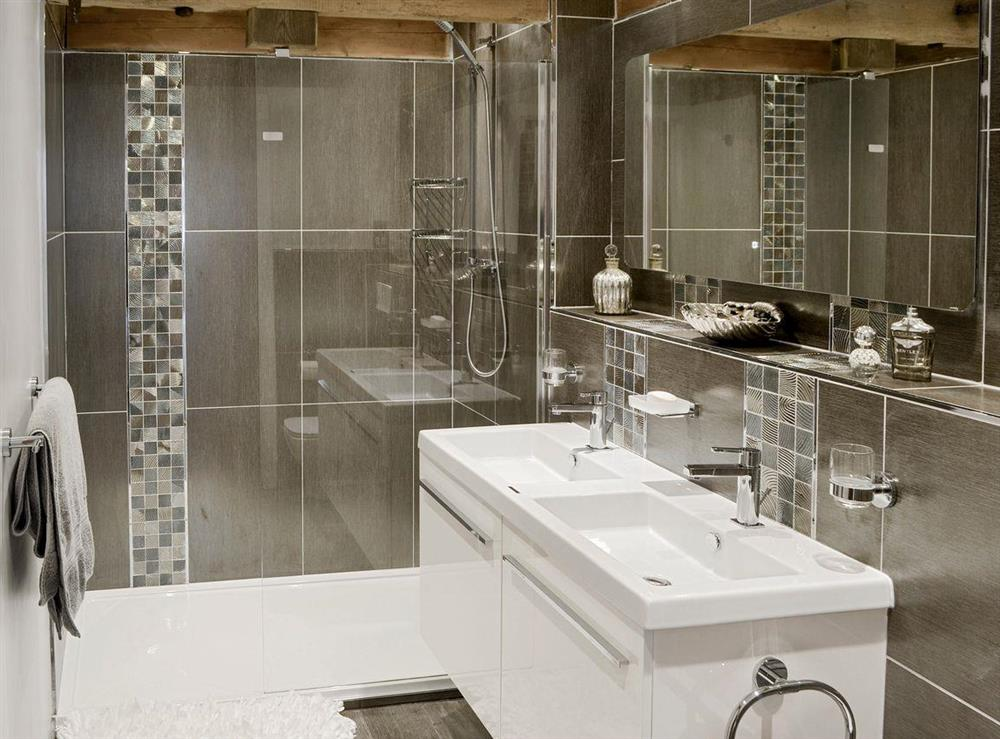 Shower room with large walk-in shower at The Cowshed in Horning, near Wroxham, Norfolk