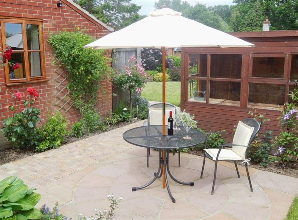 Sitting-out-area at The Garden Apartment in Neatishead, near Norwich, Norfolk