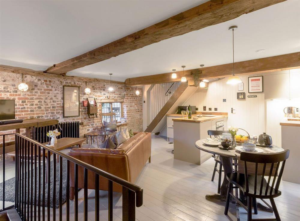 Quirky and unique open plan living space at The Granary in Cuxham, near Watlington, Oxfordshire, England