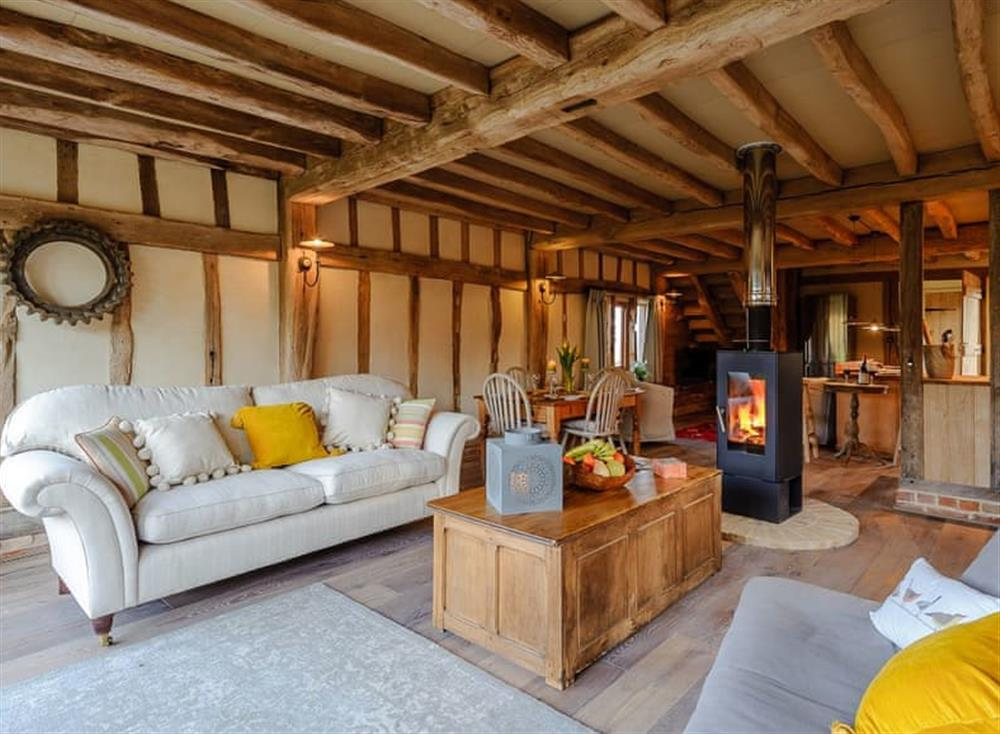 Open plan living space at The Granary in Milden, near Bury St Edmunds, England