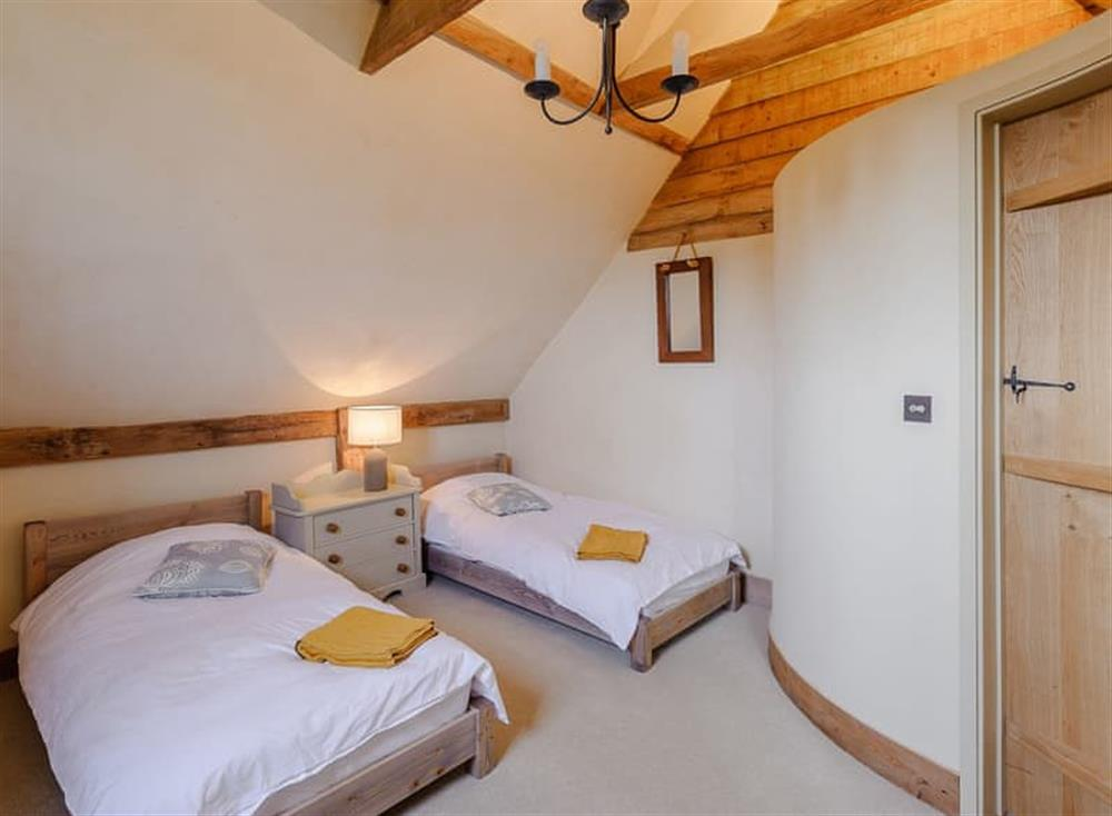 Twin bedroom at The Granary in Milden, near Bury St Edmunds, England