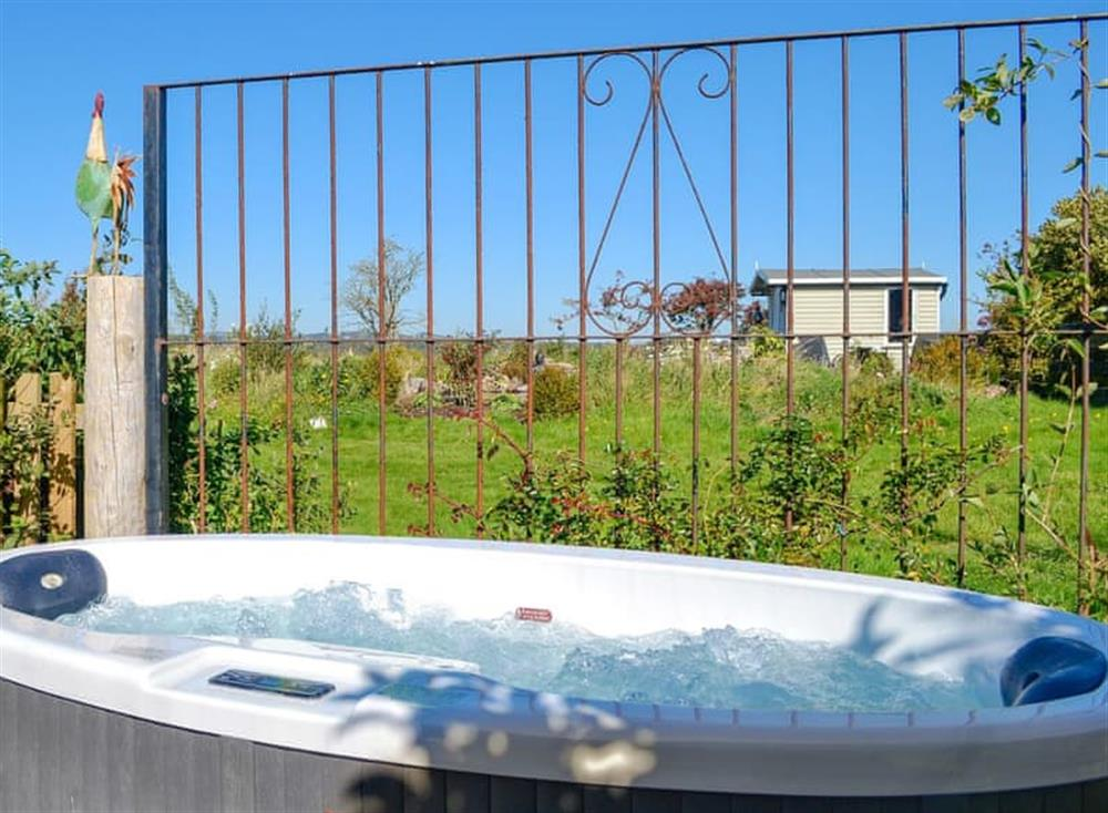 Relaxing hot tub at The Hut in Ruthwell, near Annan, Dumfriesshire