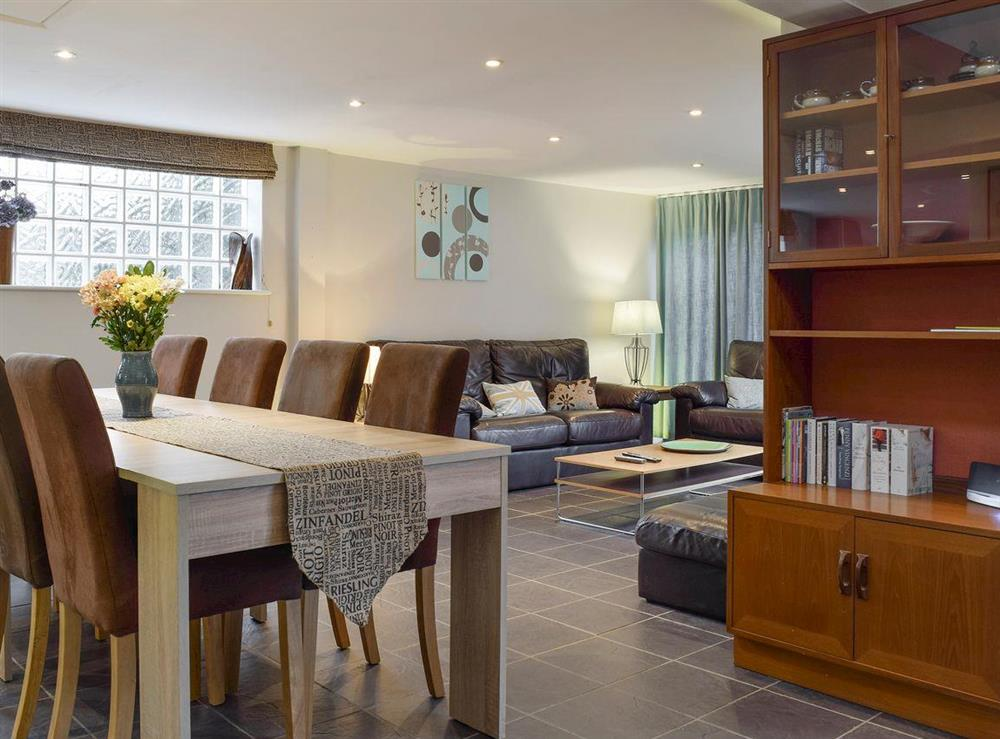 Stylish living and dining area at The Joinery in Ledbury, Herefordshire