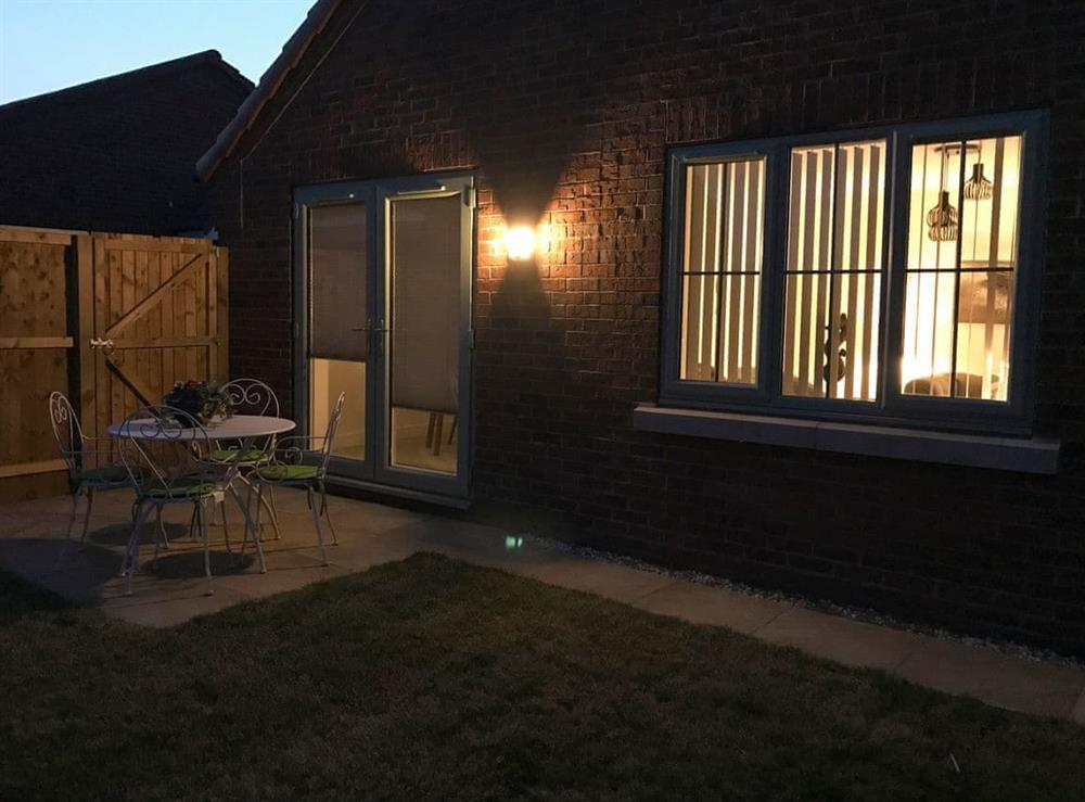 Patio area of rear garden at The Light House in Flamborough, North Humberside