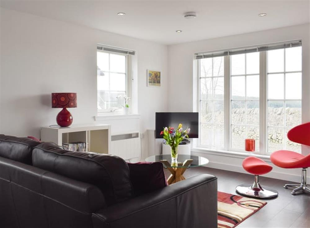 Welcoming living area at The Lodge at Lochnagar in Peat Inn, near St Andrews, Fife