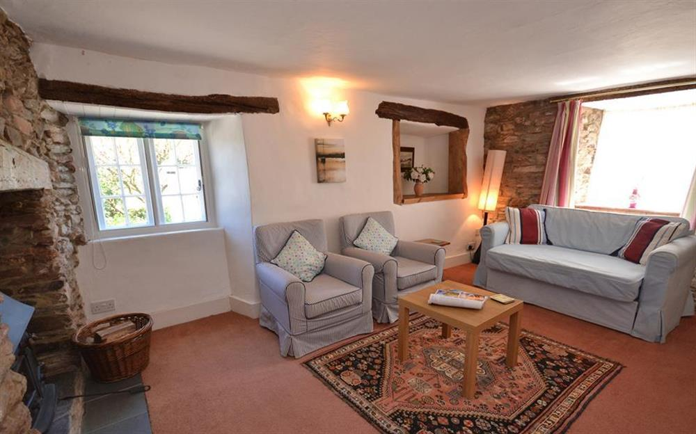 Another view of the winter sitting room at The Old  Bakehouse, Dittisham