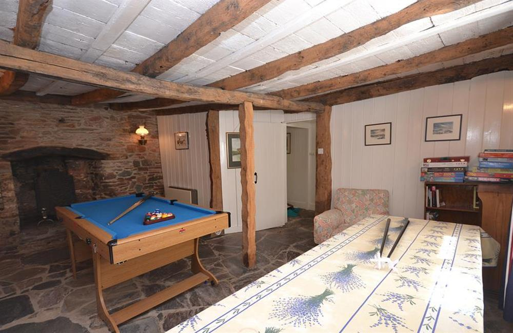 Orginally the village shop.  Now a games room with table tennis and pool at The Old  Bakehouse, Dittisham
