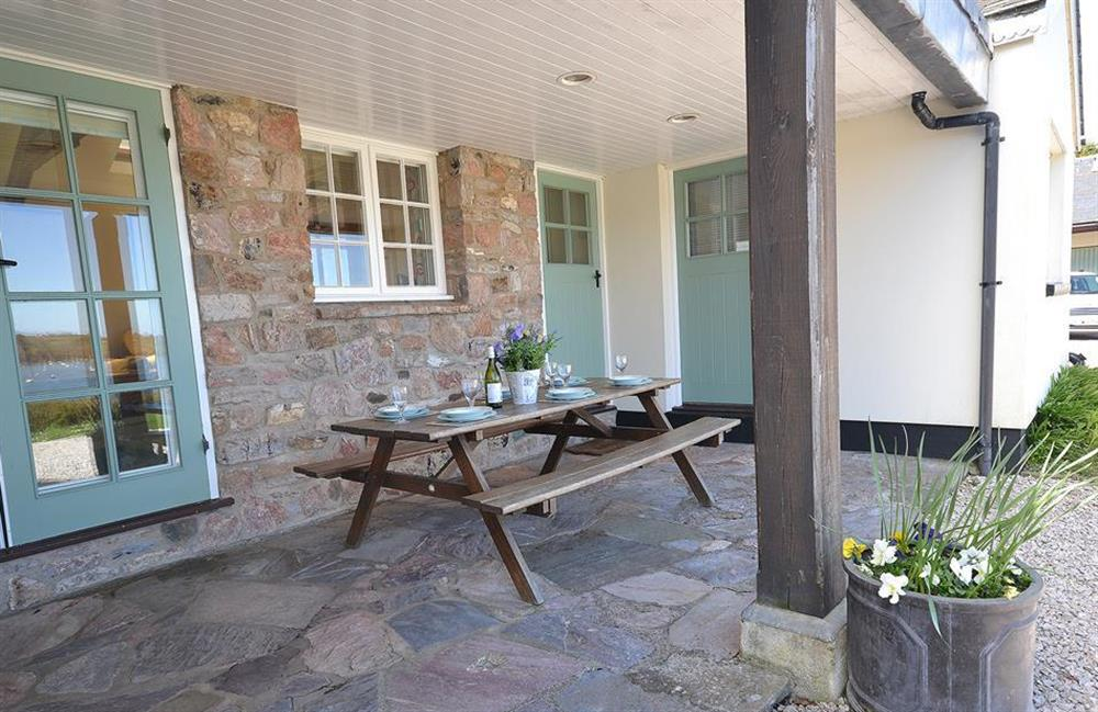 The covered verandah. Perfect for al fresco dining in any weather! at The Old  Bakehouse, Dittisham