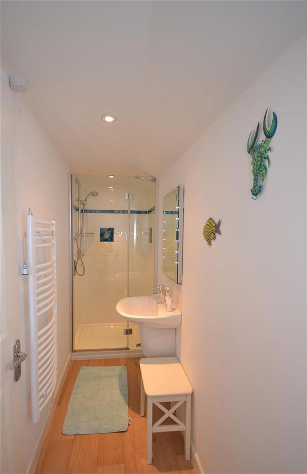 The en suite shower room to the bedroom suite at The Old  Bakehouse, Dittisham