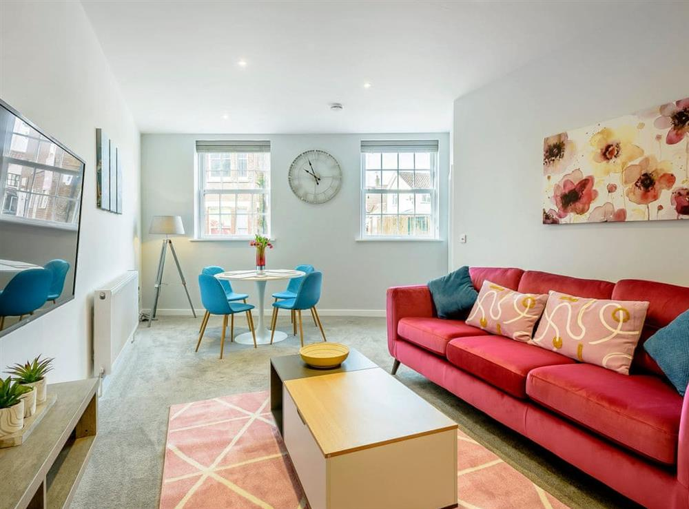 Stylishly furnished open plan living space at The Old Bank in Mundesley, near North Walsham, Norfolk