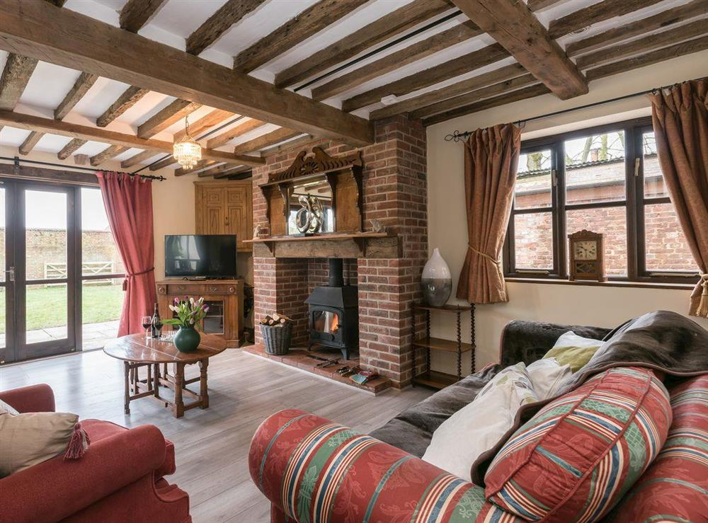 Stylishly furnished living room at The Old Hall Coach House in Tacolneston, near Wymondham, Norfolk