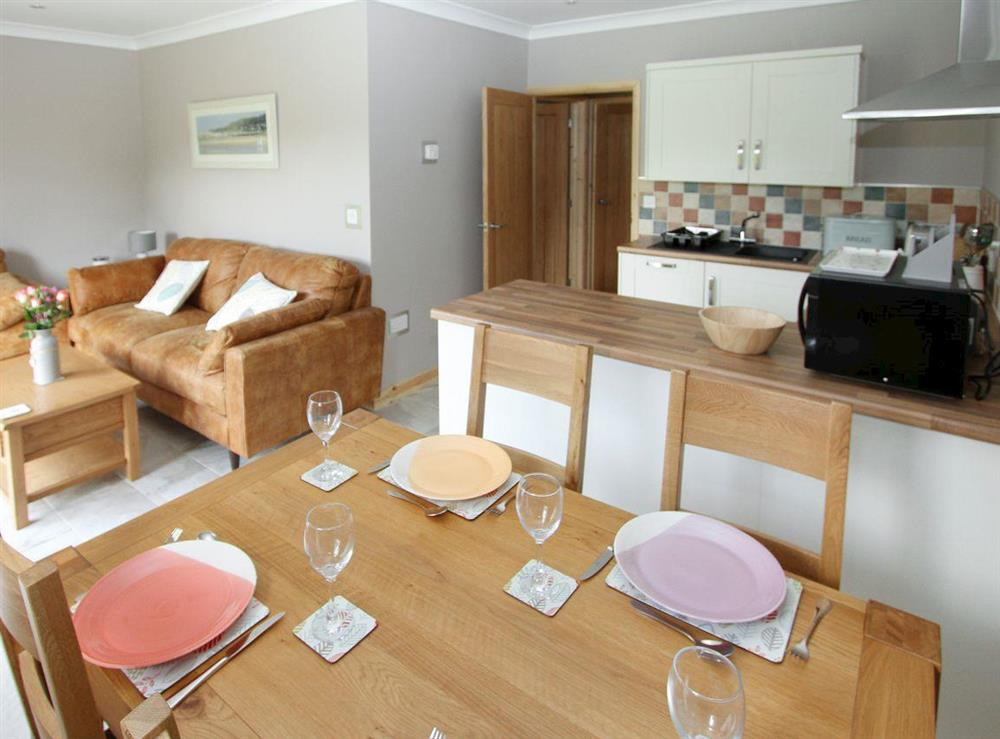 Well-appointed kitchen in open-plan living area at Woodpeckers Nest,
