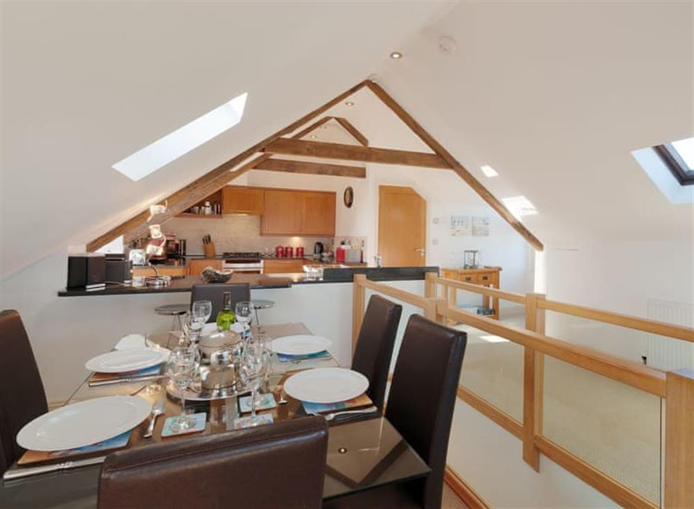 Open plan living space at The Penthouse in Endsleigh Court, Stoke Fleming