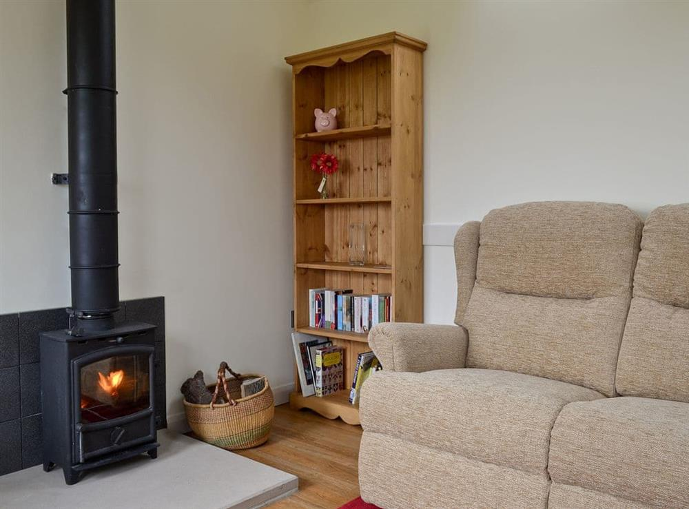 Living room with wood burner at The Pig Sty in Ashbourne, Staffordshire