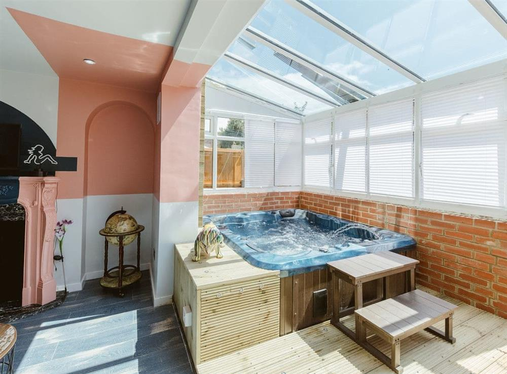 Bright sun room with relaxing hot tub at The Pop Art House in Tower Hill,  Greater London, England
