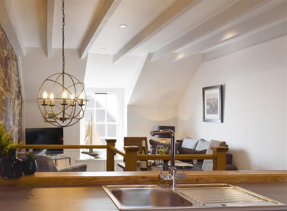 Stylish open-plan living space at The Sailmakers Loft in Anstruther, Fife