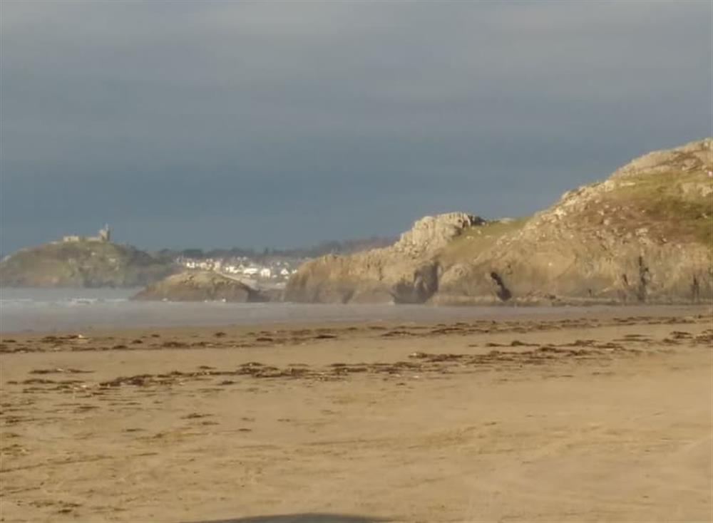 Black Rock Sands in February with Criccieth Castle in the background