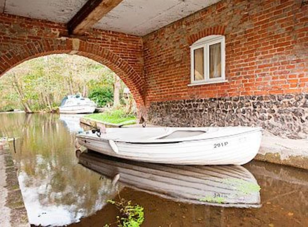 Dinghy for hire at The Wherry Arch in Irstead, Norwich, Norfolk