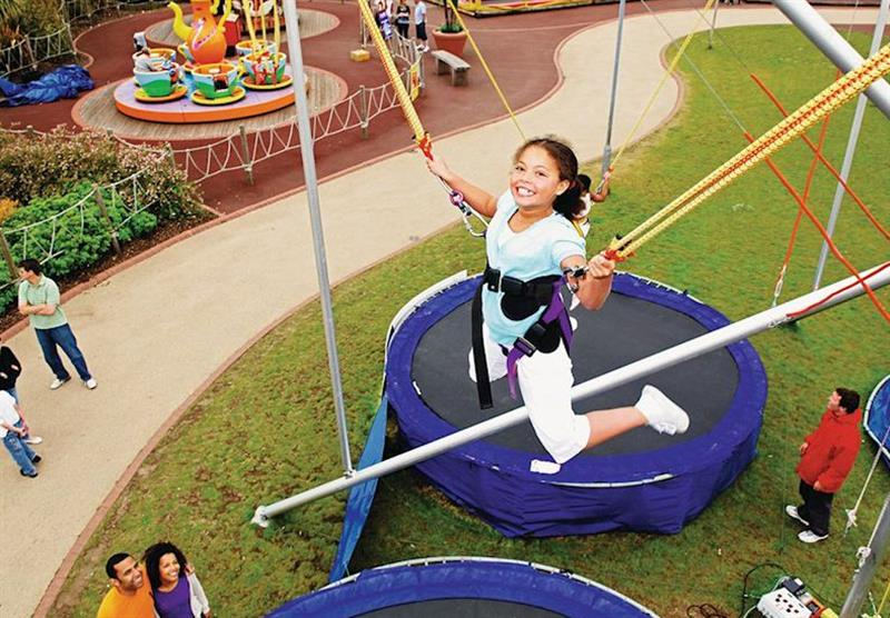 Bungee trampoline at Thorpe Park in Lincolnshire, East of England