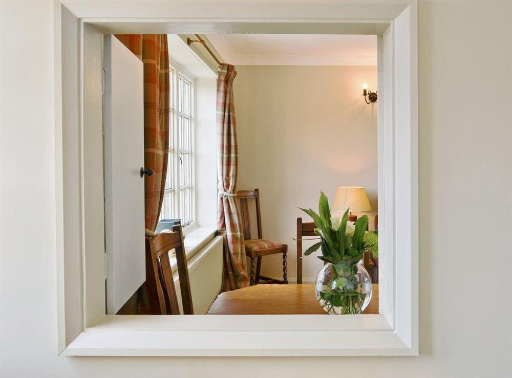 View into the dining area at Tickton Hall Cottage in Tickton, near Beverley, North Humberside